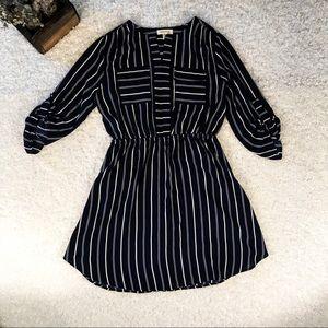 Monteau XL Navy & White Striped Dress